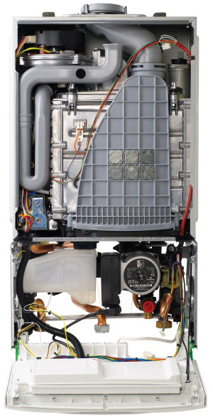 Insides of a central heating boiler